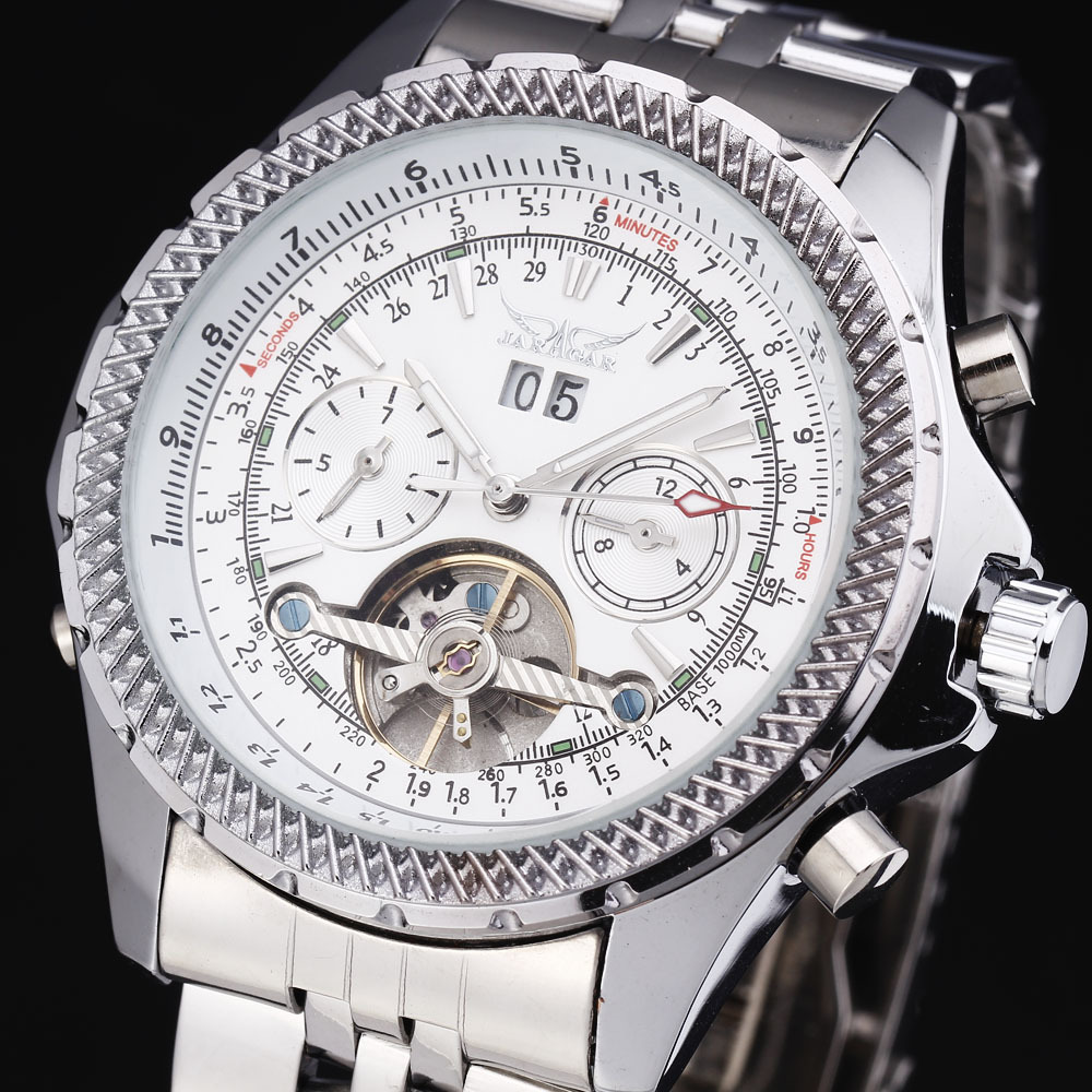 Top Brand JARAGAR Luxury Watches y Grid Gear Case Tourbillon Automatic Calendar Dial Steel Band Mechanical Men Dress Wrist Watch 2017 jaragar luxury watch men tourbillon automatic wrist mechanical watches free shipping gift