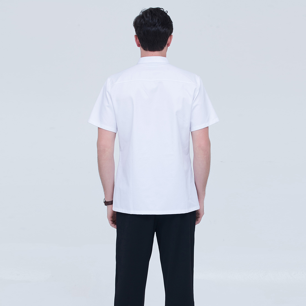 Unisex Short Sleeve Pure Color Double Breasted Restaurant Kitchen Chef Sushi Cooking Work Uniforms Comfy Summer White Jackets