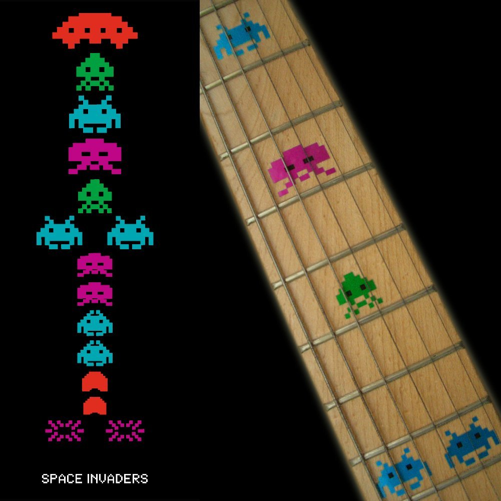 Fretboard Markers Inlay Sticker Decals for Guitar Bass - Space Invaders (White Pear/Color) fretboard markers inlay sticker decals p35 al1 al2 for guitar and bass stars