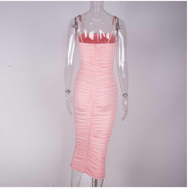 Невасия Двухслойное сексуальное летнее платье 2019 розовые женские ночные платья облегающие длинные вечерние обтягивающее винтажное платье миди с рюшами