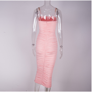 Image 5 - NewAsia Double Layers Sexy Summer Dress 2019 Pink Women Night Dresses Tight Long Party Bodycon Dress Vintage Ruched Midi Dress