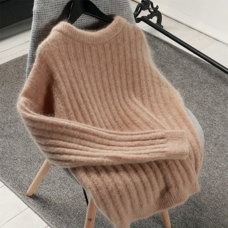 Autumn Winter Sweater Women O Neck Pullover Mohair Sweater Pull Femme Hiver Thicken White Black Warm