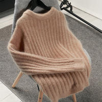 Autumn Winter Sweater Women O Neck Pullover Mohair Sweater Pull Femme Hiver Thicken White Black Warm Women Sweater Jumper C5133