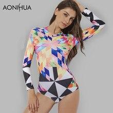 AONIHUA Swimsuit Women Geometric printing Sport back zipper Colorful One Piece Swimwear Female Summer Long sleeve Swimming Suits