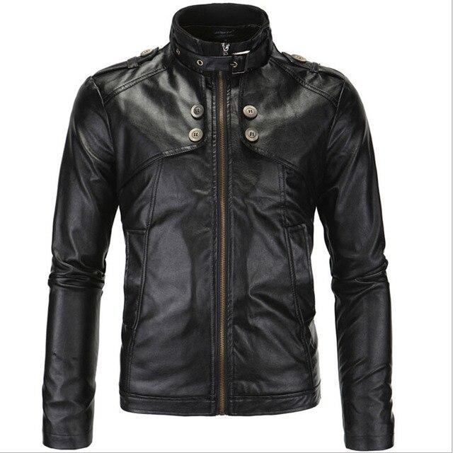 Осень НОВЫЙ 2016 Британский мужская Мотоциклов Кожаные Куртки Европейский и Американский Стиль Стенд Воротник Молния Куртки