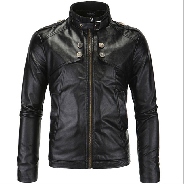 Autumn NEW 2016 British Men's Motorcycle Leather Jacket European and American Style Stand Collar Zipper Jackets