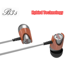 New Dynamic and Armature Blon B3s 2 unit Wood Earbuds HIFI Red Moving Iron&Coil In Ear Earphone DJ monitor Wooden Headset