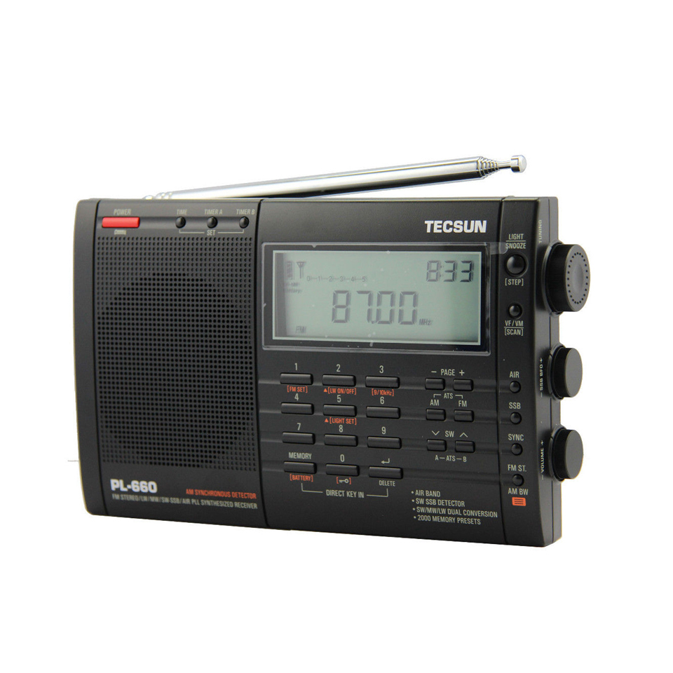 Lusya Tecsun PL-660 Portable Stereo Radio High Performance Full Band Digital Tuning FM AM Radio SW SSB