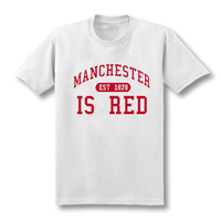 New United Kingdom Red Letter Print T Shirt Men Cotton O Neck Manchester Tee Camisa Masculina