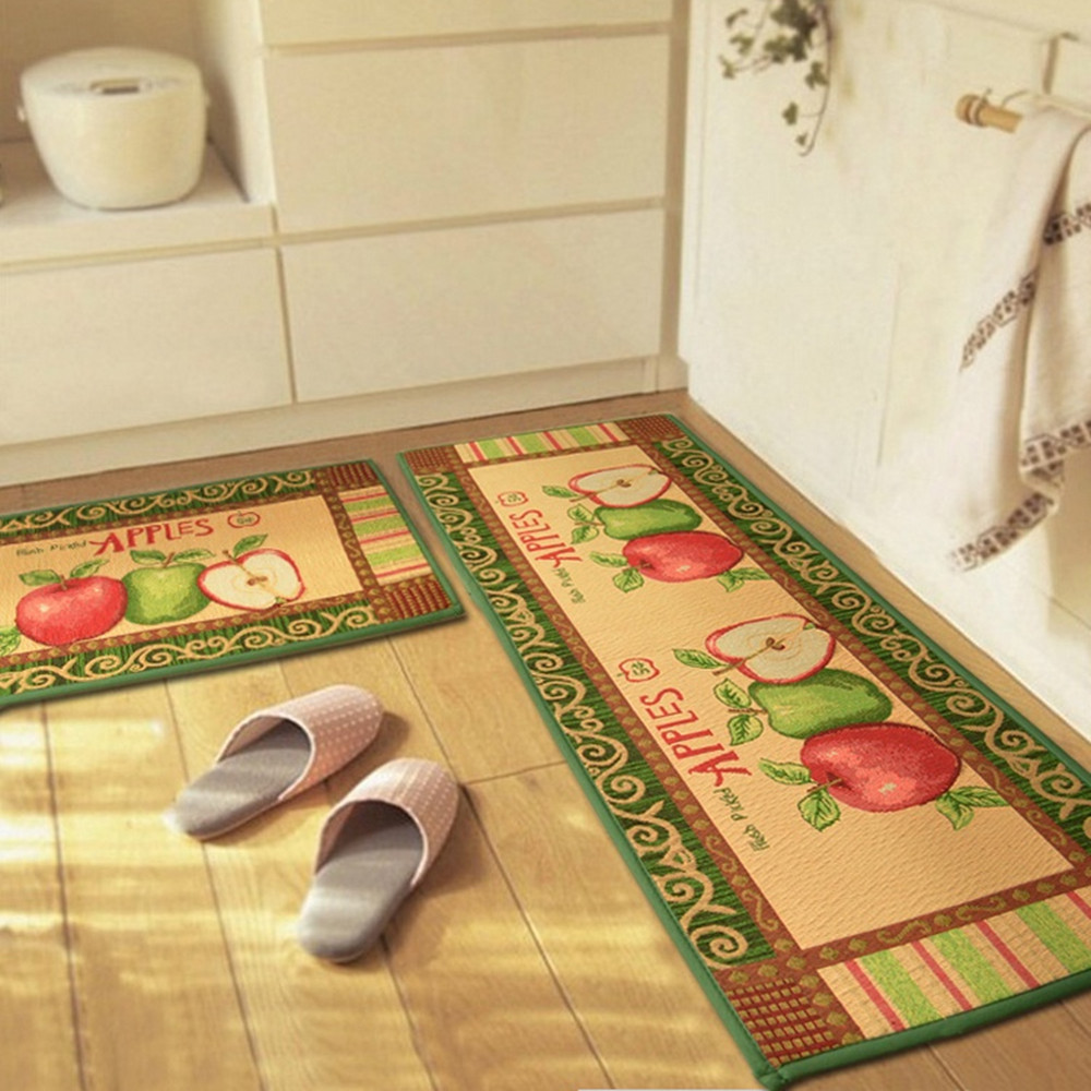 Yazi Vintage Apples Anti Slip Kitchen Rug Floor Runner Soft Carpet Bath  Entrance Door Mat