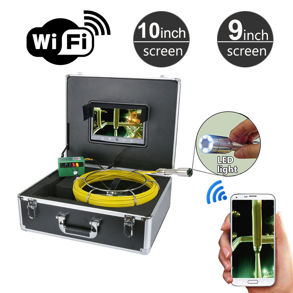 10 / 9 WiFi Pipe Inspection Video Camera Drain sewer Industrial Endoscope Snake Video Pipeline 1000 TVL Camera 20M 50Meters