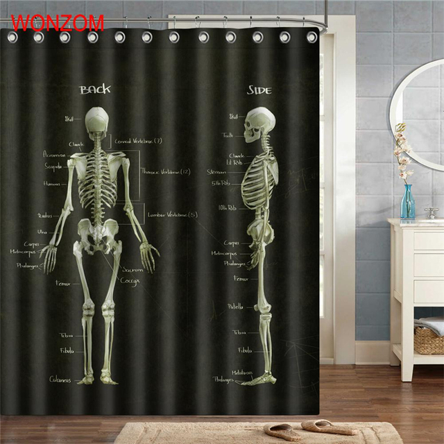 Wonzom New Skeleton Shower Curtains With 12 Hooks For Bathroom Decor Modern Bath Waterproof Curtain