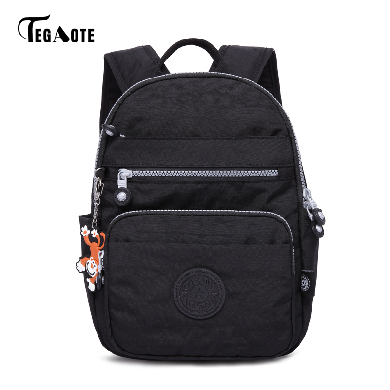 TEGAOTE New Design Women Backpack Bags Fashion Mini Bag With Monkey Chain Nylon School Bag for Teenage Girls Women Shoulder Bags 3157 fashion backpack women bag nylon waterproof school bags for teenage girls headphone plug travel daypack female shoulder bag