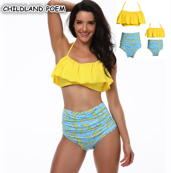 01be7a22ac Mother and Daughter Swimwear Family Matching Swimwear Clothes Family look Swimsuit  Fashion Mother Girl Bikini Swimming Clothing-in Matching Family Outfits ...