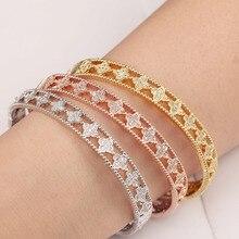 Honghong цветочный узор кубический цирконий браслеты и браслеты для женщин полый дизайн благородные элегантные женские Модная бижутерия Браслеты