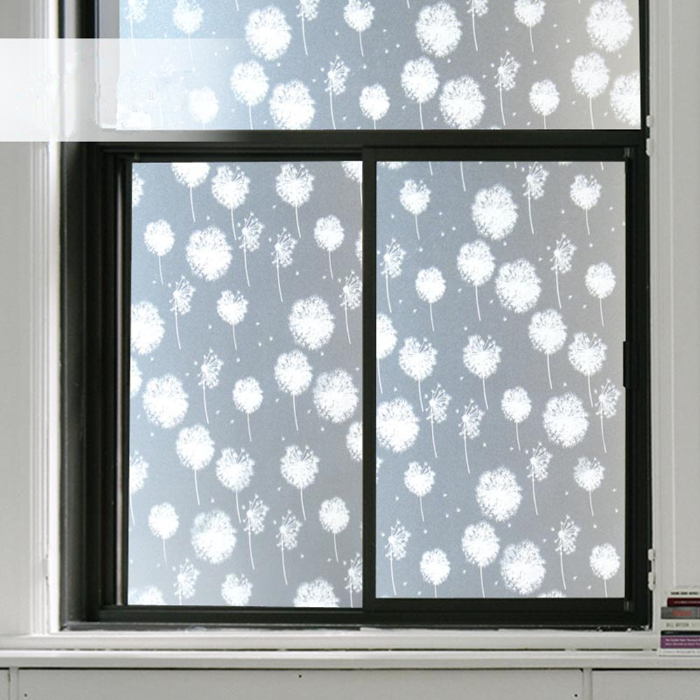Translucent Window Film Us 16 99 Dandelion Self Adhesive Film Window Film Frosted Glass Sliding Door Bathroom Window Stickers Translucent Opaque In Decorative Films From
