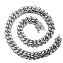 16mm Wide 7-40inch Length Mens Biker Silver Color Stainless Steel Miami Curb Cuban Crystal Chain Necklace Or Bracelet Jewelry
