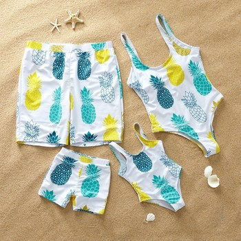 beach family couple Swimsuit pineapple matching swim shorts women mother daughter bikini dad son swimwear trunks Boardshort 1