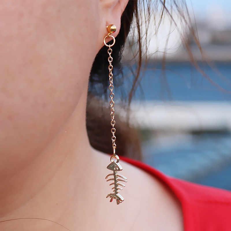 ES2035 スチームパンク魚の骨のロングタッセルドロップピアスファッションジュエリーブークレドールペンドオレイル女性ブラブラ動物 Brincos pendientes