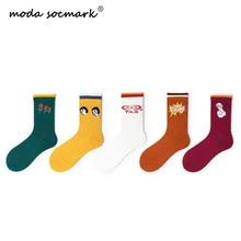 Moda Socmark 2019 Autumn Happy Socks Women New Fashion Harajuku Funny Creative Multicolor Cotton Long Female