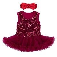 Блестящий Блёстки бордовый Кружево Петти платье + повязка на голову-пачка Наборы для ухода за кожей для маленьких девочек летняя одежда для ...