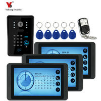 Full touch screen 7 Wired RFID Password Remote Video Door Phone Intercom Doorbell Home Security Camera Monitor Access Control