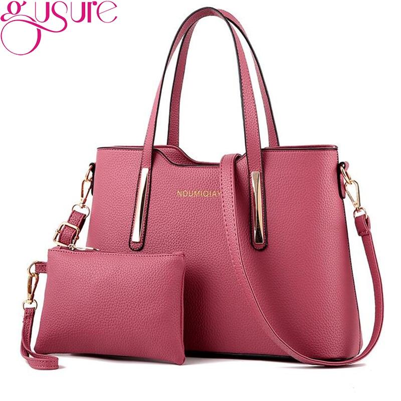 Gusure Composite Bags Women PU Leather Handbags Shoulder Solid Color Small Clutch Bag Large Capacity Top-handle Tote 2 Bag/Set