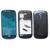 Azul Original Completa Habitação Completo Tampa Traseira Moldura Quadro Do Meio para Samsung Galaxy S3 mini i8190 Ferramentas Adesivo Vidro Da Frente