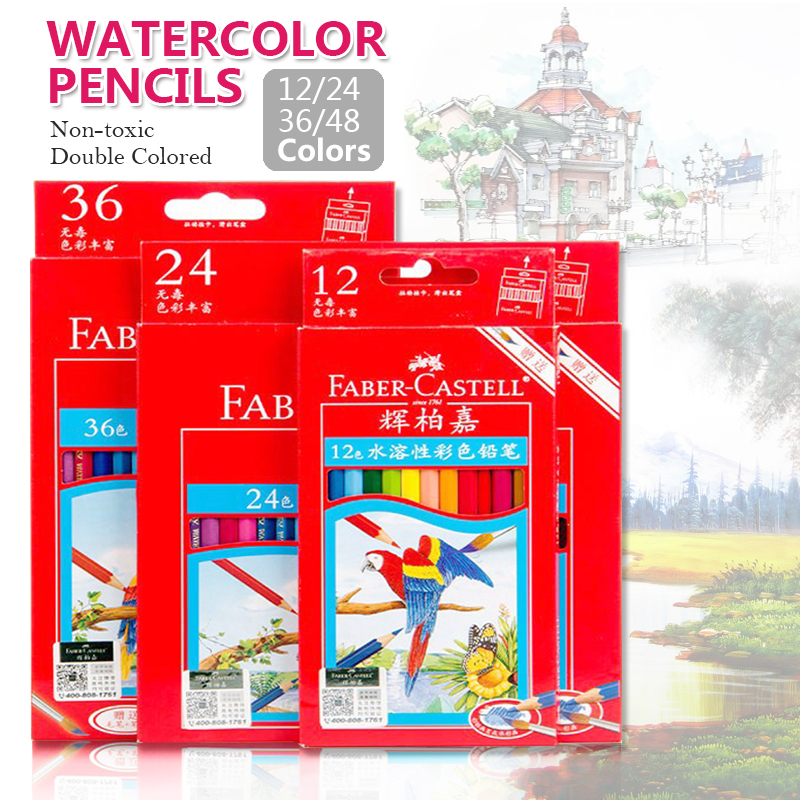 цена на Faber-Castell 48Color Water Soluble Color Pencils Set for Artist Sketch Drawing Watercolor Pencil for Children Paint Drawing