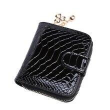 Feste Alligator frauen Mini Geldbörse Haspe Und Reißverschluss Mode Geld Taschen Marke Neue 2 Fach Brieftaschen Für Frauen