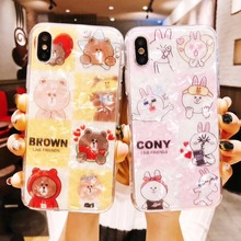 XR Shine Pearls Trendy Cartoon Glossy Cute bear Phone Case Soft TPU Back Cover For iPhoneXsmax 8/6s 7/8plus Shell Protection