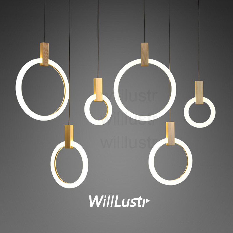 Светодиодный подвесной светильник круглый PMMA кольцо дерево подвеска свет висит освещения столовая Ресторан отеля лестницы длинные навес