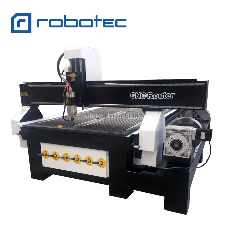 Double Chuck Rotary Cnc Wood Milling Machine For Stairs / 4 Axis Rotary Cnc Wood Router
