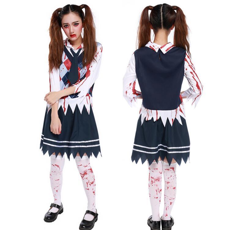 da13e0ba2b Women Sexy Student Uniform Cosplay Schoolgirl Role Play Fancy Skirt  Carnival Zombie Halloween Underwear Nightwear Outfit Costume-in Sexy  Costumes from ...