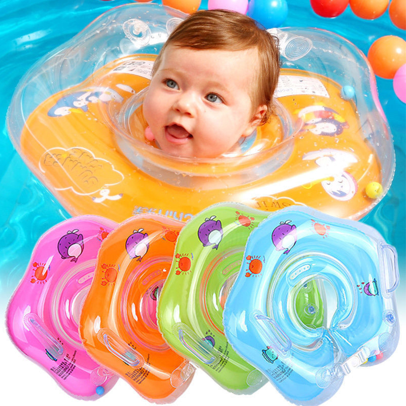 Baby Swimming Accessories Neck Ring Tube Safety Infant Float Swim Circle Big Dolphin Inflatable Hose For Kids Bathing