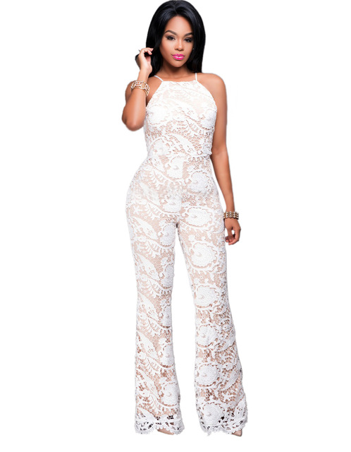 Adogirl Women Wide Leg Lace Long Jumpsuit Sexy Black White Spaghetti Strap See Through Backless Rompers Combinaison Femme S-XL