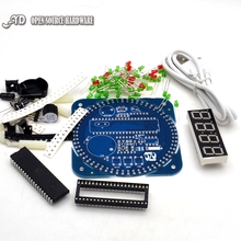Вращающийся DS1302 Модуль Цифровой СВЕТОДИОДНЫЙ Дисплей Сигнализации Электронные Цифровые Часы СВЕТОДИОДНЫЙ Дисплей Температуры DIY Комплект Обучения Доска 5 В