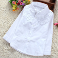 Girls White Blouse 100% Cotton Lace School Girl Blouse For Girls Long Sleeve Shirts Spring & Autumn Fashion Shirt Kids Clothes
