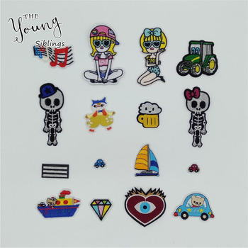Fashion Cartoon kids Iron on Patches Badges DIY Embroidered Applique Sewing Fabric Patches Clothing Decorate Accessory Stickers image