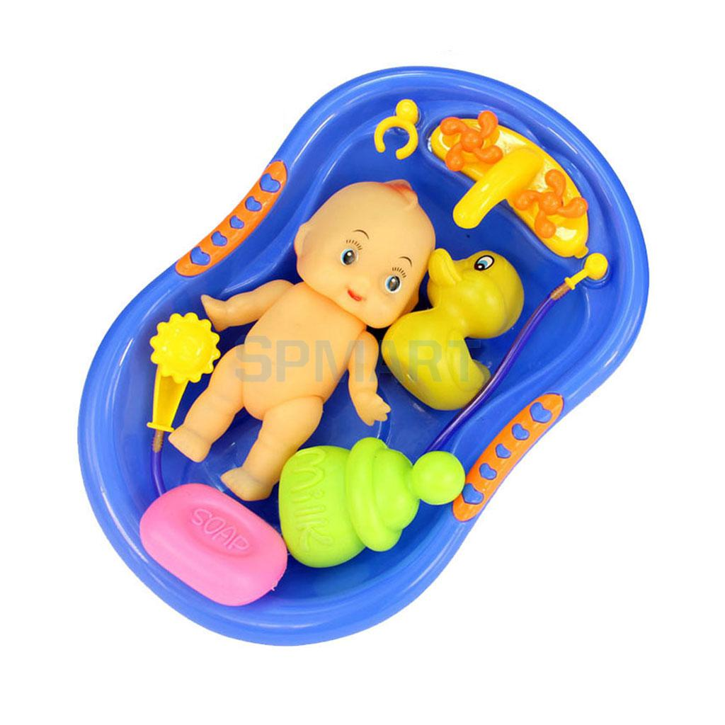 Plastic Bathtub with Baby Doll Bath Toy Set