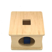 New wooden Baby Toy Montessori Wood Square Blocks  Matching Box Learning Educational Gifts