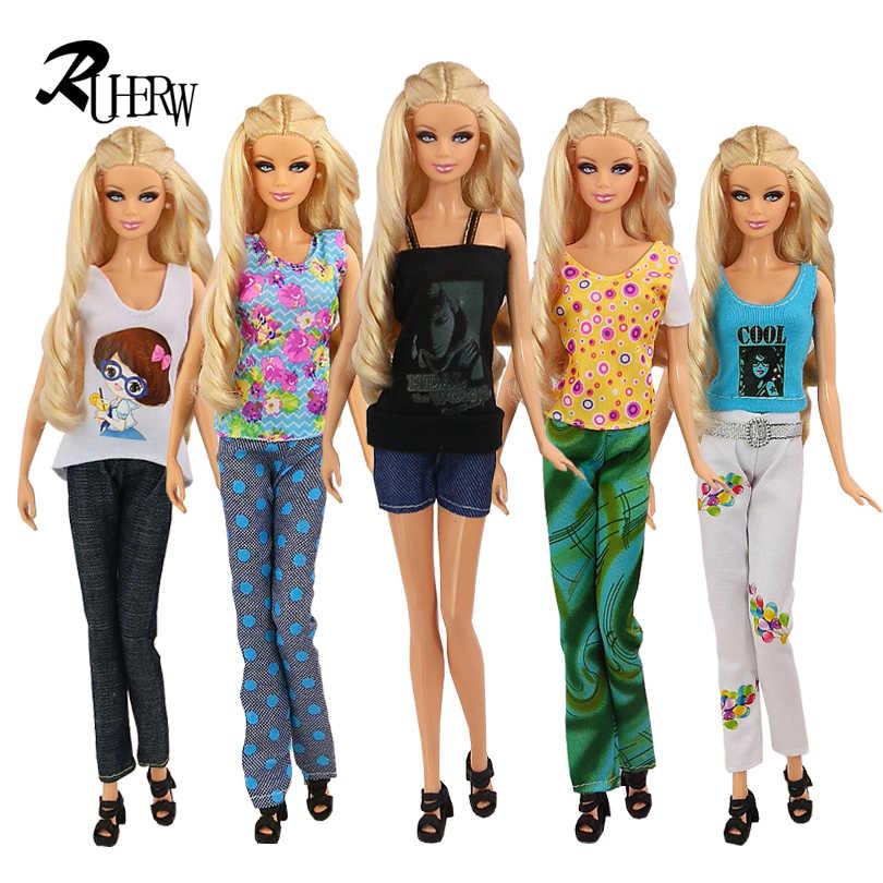 """5 pçs/lote nova moda ternos roupas de alta qualidade jaqueta e calças conjunto roupas vestido para boneca barbie 11.5 """"frete grátis"""
