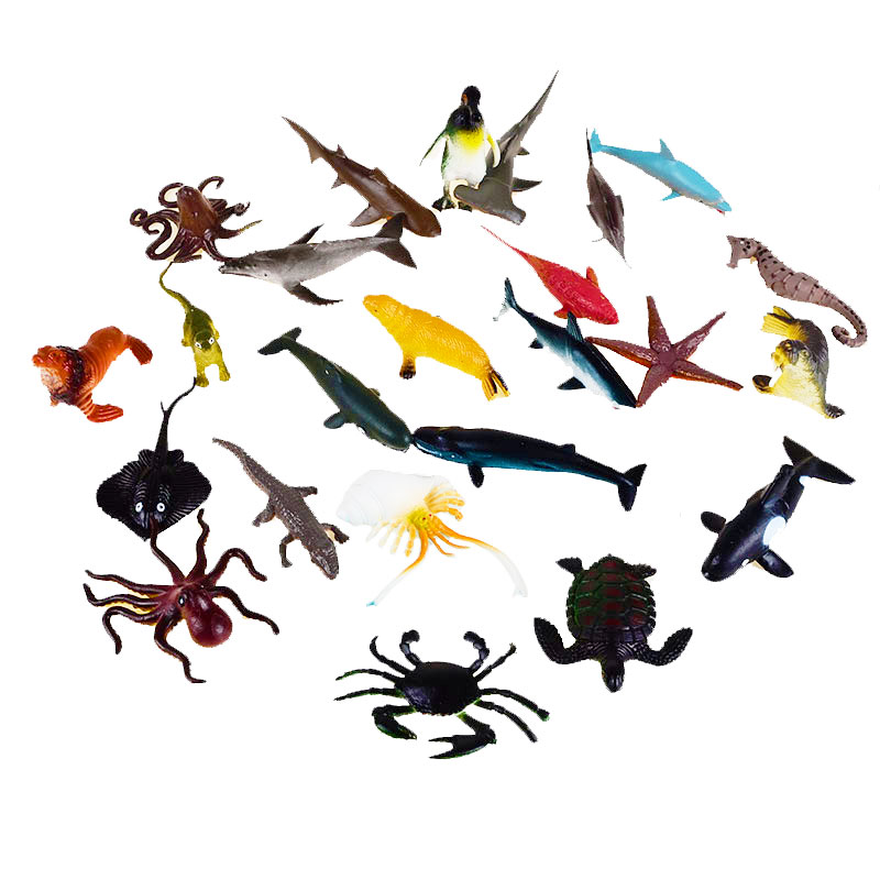 24pcs BOHS Marine Life Sea Animal Set  Whale Shark Octopus Penguin Children Gift Dolphin Turtle Crab Model Toys 65 pcs set small sea animals toy figurine mixed lot ocean creatures fish marine life solid model children gifts free shipping