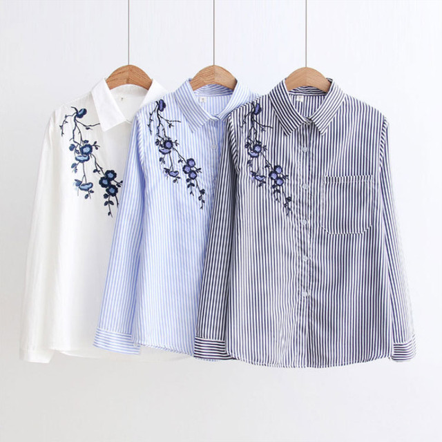 ih Floral Embroidery Striped Blouse Women Long Sleeve Shirt And Tops Casual Cotton Blusa Plus Size 3XL Tops Office Lady Blusas 2