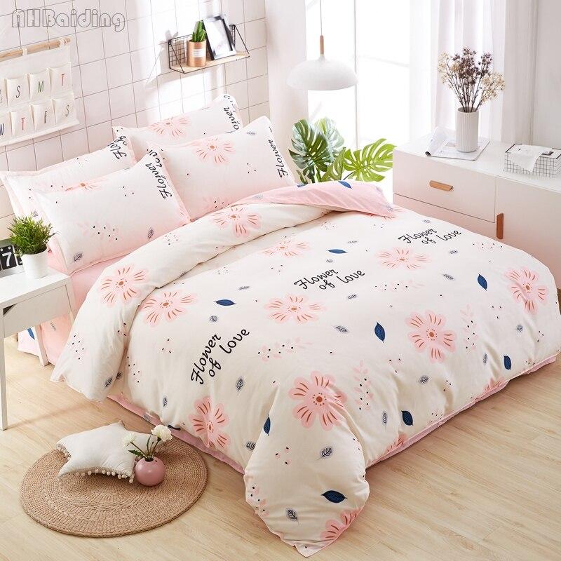 Home Textile White Pink Flower of Love Bedding Set Autumn/Winter Bed Linen Twin Full Queen King Duvet Cover Bed Sheet Pillowcase