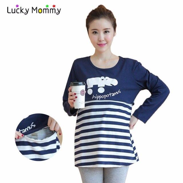 Fashion Stripe Nursing Clothes Breastfeeding Tops T-shirts Maternity Tops Clothing for Feeding Breast Feeding Top T shirts