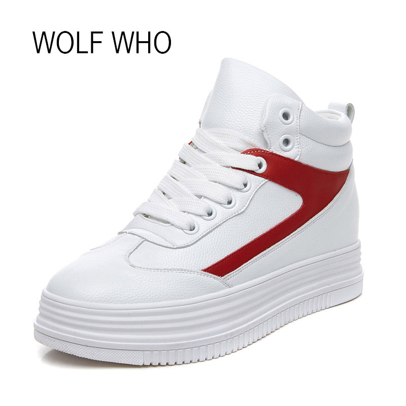 WOLF WHO 2018 Spring Women Casual Sneakers High Top Women Platform Sneakers Fashion Leather Women Winter Sneakers Wedge H-186