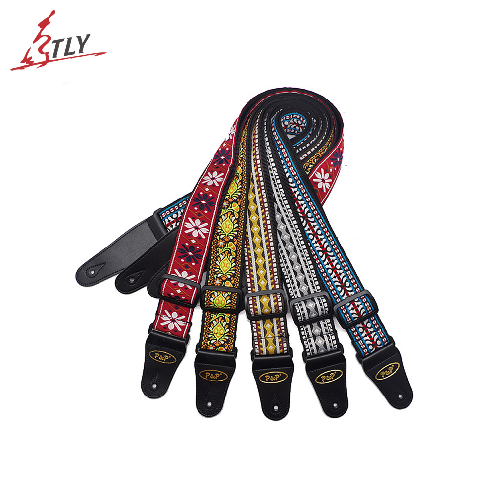 2*150cm Adjustable Jacquard Band Acoustic Guitar Strap Belt with Leather Ends for Bass Acoustic Electric Folk Guitar warp knitting classical guitar strap acoustic electric guitar strap extreme well