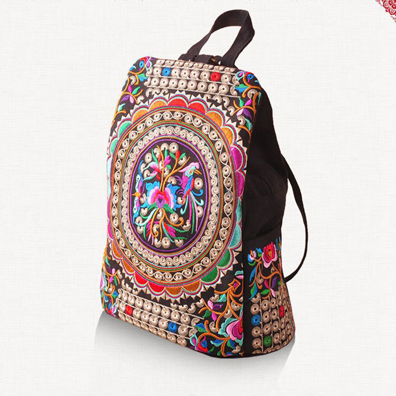 Vintage Embroidery Ethnic Canvas Backpack Women Handmade Flower Embroidered Travel Bags Schoolbag Backpacks Rucksack Mochila national trend women handmade faced flower embroidered canvas embroidery ethnic bags handbag wml99