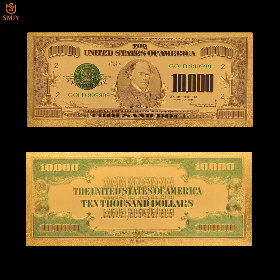 New Product 2018 US Dollar Money 10000 Dollar Gold Plated Fake Banknote US Currency Paper Money Collection